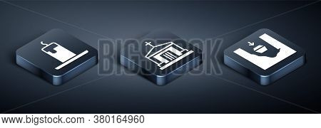 Set Isometric Burning Candle, Coffin In Grave And Old Crypt Icon. Vector