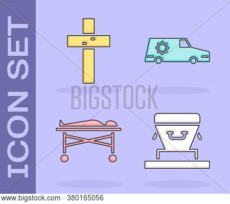 Set Coffin, Christian Cross, Dead Body In The Morgue And Hearse Car Icon. Vector