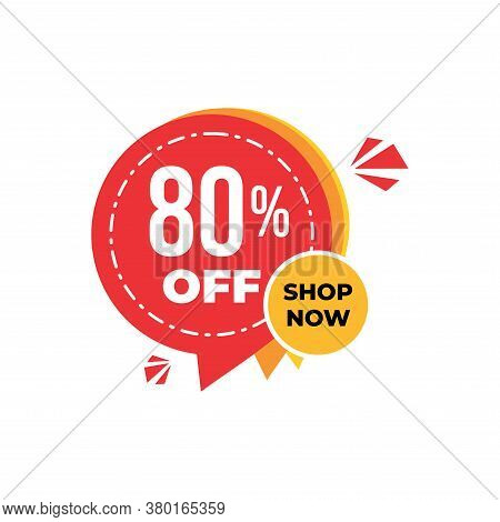 80% Sale Tag Vector Badge Template,80% Sale Label Collection, Clearance Sale Sticker Emblem, Bargain
