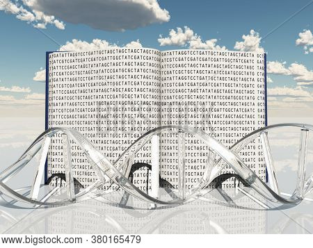 Book with Gentic Code and Strand of DNA. 3D rendering