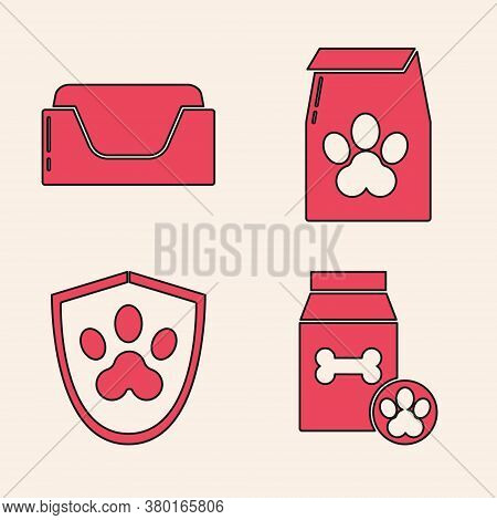Set Bag Of Food For Pet, Pet Bed, Bag Of Food For Pet And Animal Health Insurance Icon. Vector