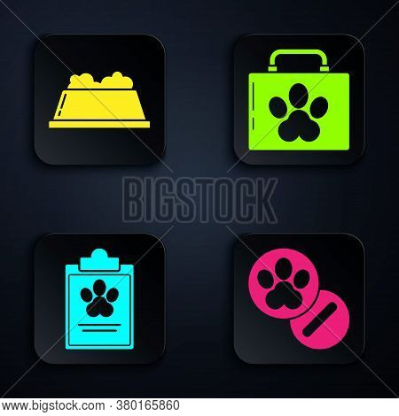 Set Dog And Pills, Pet Food Bowl, Clipboard With Medical Clinical Record Pet And Pet First Aid Kit.