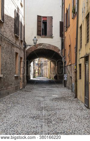 Ferrara, Italy. August 6, 2020.a View Of The Medieval Volte Street