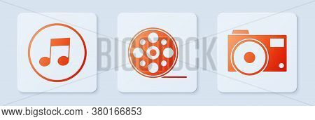 Set Film Reel, Music Note, Tone And Photo Camera. White Square Button. Vector