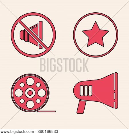 Set Megaphone, Speaker Mute, Star And Film Reel Icon. Vector