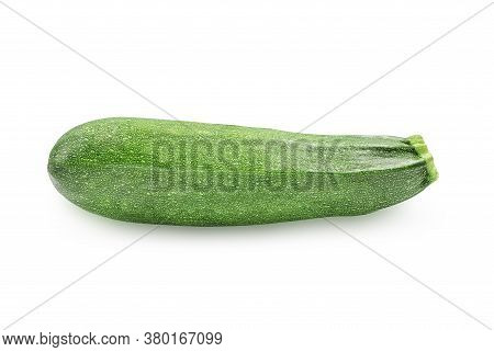 One Organic Raw Green Zucchini Or Summer Squash On White Isolated Background With Clipping Path. Zuc