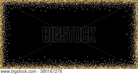 Round Gold Glitter Luxury Sparkling Confetti. Scattered Small Gold Particles On Black Background. Bo