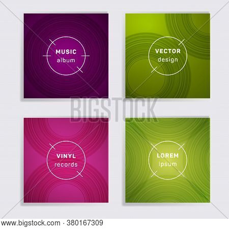 Abstract Vinyl Records Music Album Covers Set. Semicircle Curve Lines Patterns. Futuristic Creative