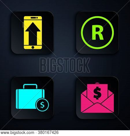 Set Envelope With Coin Dollar, Smartphone, Mobile Phone, Briefcase And Money And Registered Trademar