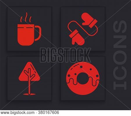 Set Donut With Sweet Glaze, Coffee Cup, Pair Of Knitted Christmas Mittens And Christmas Tree Icon. V