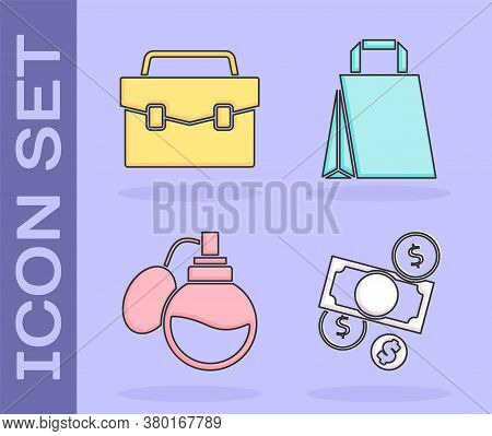Set Money Cash And Coin, Briefcase, Perfume And Paper Shopping Bag Icon. Vector