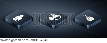 Set Isometric Carton Cardboard Box, Earring And Perfume Icon. Vector