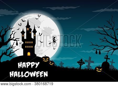 Happy Halloween Poster, Trick Or Treat Card, Halloween Party Background, Flyer Template With Horror