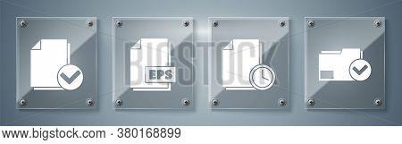 Set Document Folder And Check Mark, Document With Clock, Eps File Document And Document And Check Ma