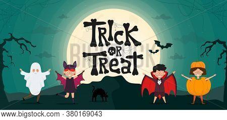 Trick Or Treat. Halloween Kids Costume Party. Cartoon Characters Of Children Ghost, Dracula, Pumpkin