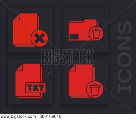 Set Delete File Document, Delete File Document, Delete Folder And Txt File Document Icon. Vector