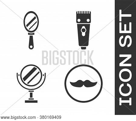Set Mustache, Hand Mirror, Round Makeup Mirror And Electrical Hair Clipper Or Shaver Icon. Vector