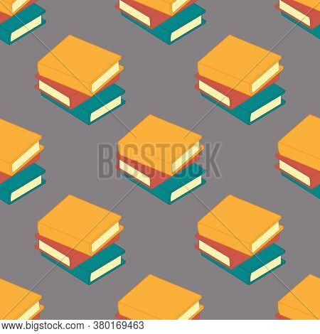 Books Vector Seamless Pattern. Background In A Flat Design. Design Of An Office, Library, Or Booksto