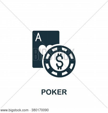 Poker Icon. Simple Element From Casino Collection. Creative Poker Icon For Web Design, Templates, In