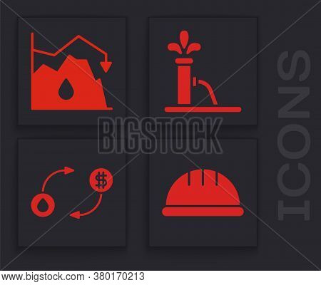 Set Worker Safety Helmet, Drop In Crude Oil Price, Oil Pump Or Pump Jack And Oil Exchange Icon. Vect