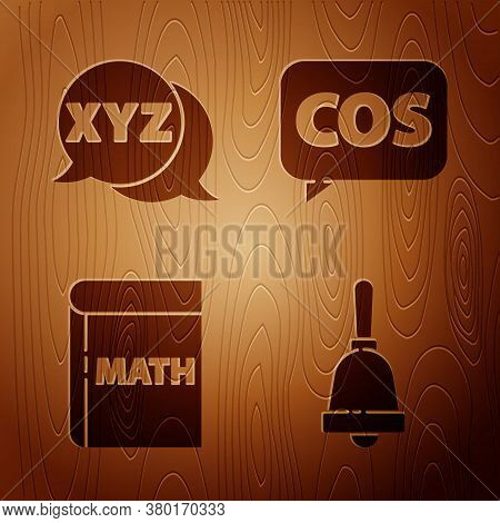 Set Ringing Bell, Xyz Coordinate System, Book With Word Mathematics And Mathematics Function Cosine