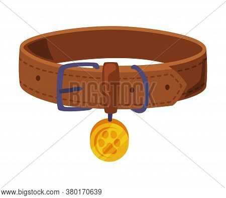 Leather Collar For Dogs, Pet Animal Necklace Cartoon Style Vector Illustration On White Background
