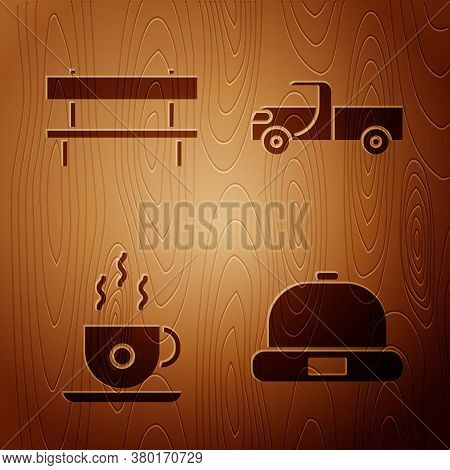 Set Beanie Hat, Bench, Coffee Cup And Pickup Truck On Wooden Background. Vector