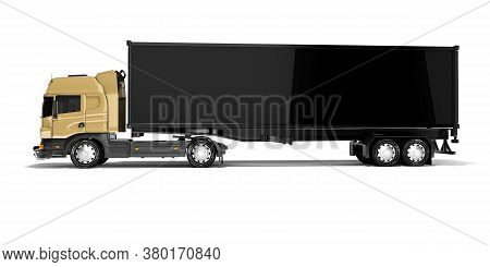 3d Rendering Brown Road Freight Dump Truck With Black Semi Trailer Side View Isolated On White Backg