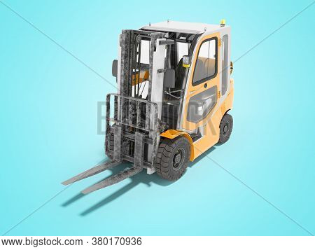 3d Rendering Orange Forklift With Cab On Blue Background With Shadow