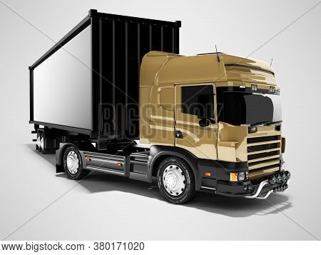 3d Rendering Brown Road Freight Dumper With Black Semi Trailer Front View On Gray Background With Sh