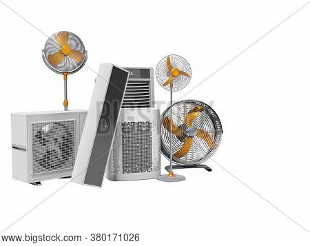 3d Rendering Concept Fans Air Conditioners And Portable Air Conditioners White Background No Shadow