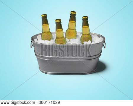 3d Rendering Concept Of Chilled Alcohol In Bucket With Ice On Blue Background With Shadow