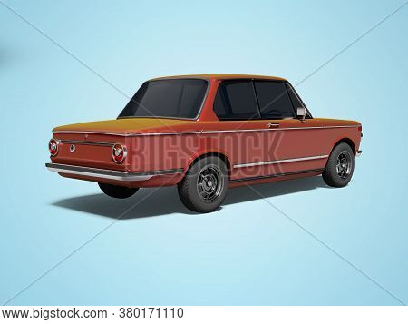 3d Rendering Red Classic Car With Tinted Windows Rear View On Blue Background With Shadow