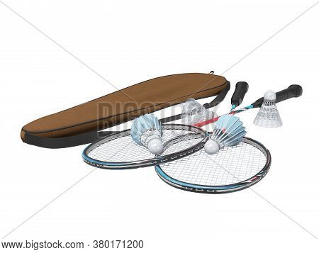 3d Rendering Set Of Badminton Rackets For Adults On White Background No Shadow
