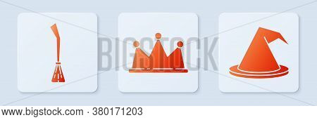 Set Crown, Witches Broom And Witch Hat. White Square Button. Vector
