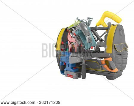 3d Rendering Tool Bag For Interior Construction Work And Apartment Repair On White Background No Sha