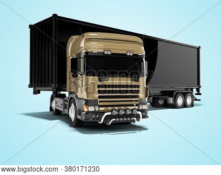 3d Rendering Brown Road Freight Dumper With Black Semi Trailer Unfolding On Blue Background With Sha
