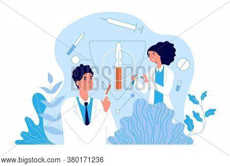 Vaccination. Hospital Team Using Vaccines. Clinic Health, Doctors Create Flu Treatment. Healthcare A
