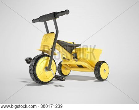 3d Rendering Yellow Tricycle For Children On Gray Background With Shadow