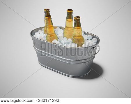 3d Rendering Concept Of Chilled Soda In Ice Bucket On Gray Background With Shadow