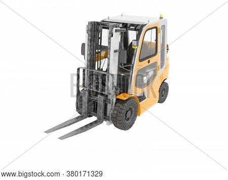 3d Rendering Orange Forklift With Cab On White Background No Shadow