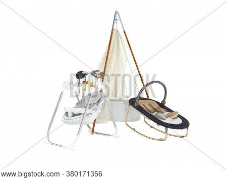3d Rendering Set For Sleeping Baby, Rocking Crib And Rocking Chair With Toys On White Background No