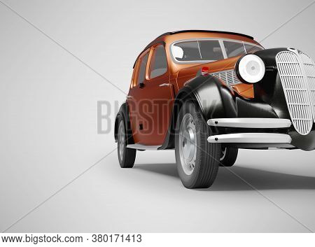 3d Rendering Classic Retro Car Front Red On Gray Background With Shadow
