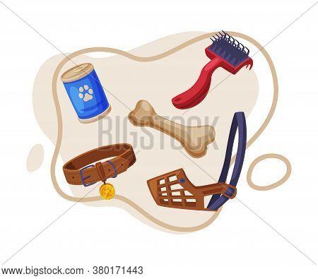 Dog Accessories Set, Pet Animal Stuff, Leather Dog Muzzle, Collar, Canned Food, Bone Cartoon Style V