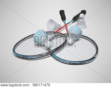 3d Rendering Game Set Of Badminton Rackets With Adult Shuttlecocks On Gray Background With Shadow