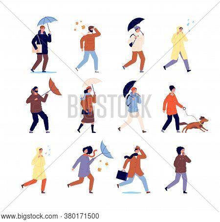 Autumn Walking People. Stylish Characters, Casual Persons With Umbrella. Outdoor Activity, Rainy Wea