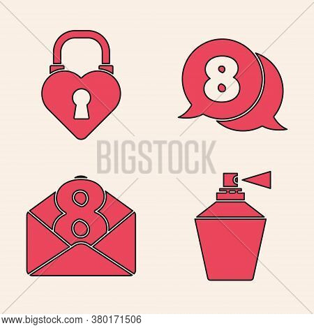 Set Perfume, Castle In The Shape Of A Heart, 8 March In Speech Bubble And Envelope With 8 March Icon