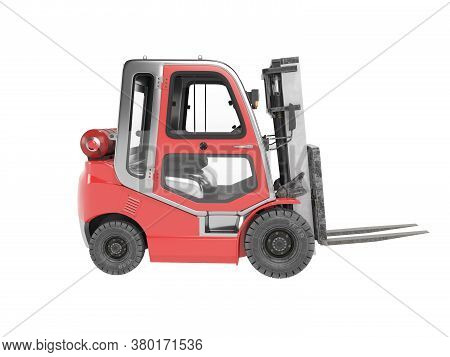 3d Rendering Red Side View Gas Forklift For Warehouse Side View On White Background No Shadow