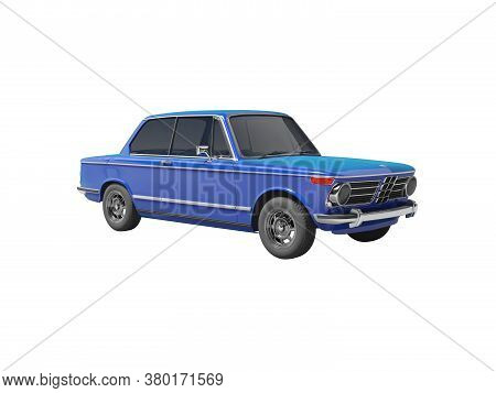 3d Rendering Blue Classic Car With Tinted Windows On White Background No Shadow