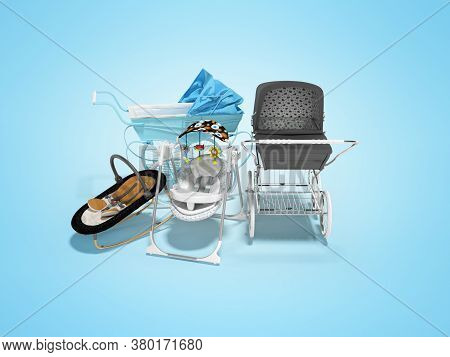3d Rendering Set For Sleeping Baby, Two Baby Strollers For Walk And Portable Bed On Blue Background